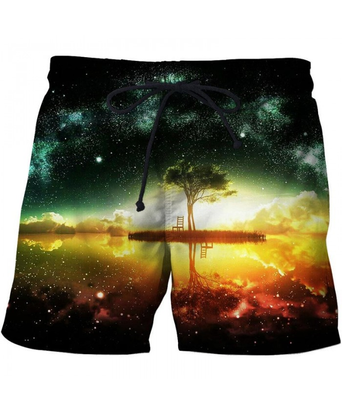 Green Star Sea 3D Print Men Shorts Casual Cool Men Elastic Waist Stone Printed Beach Shorts Male Fitness Shorts