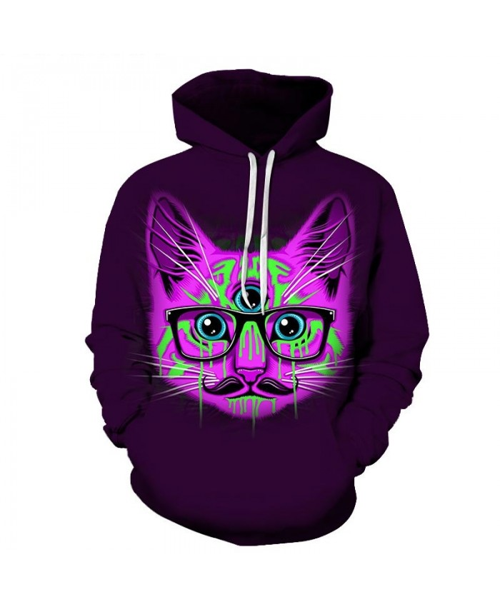 Green Tears Cat 3D Printed Mens Pullover Sweatshirt Pullover Casual Hoodie Men Streetwear Sweatshirt Clothes Hoodie