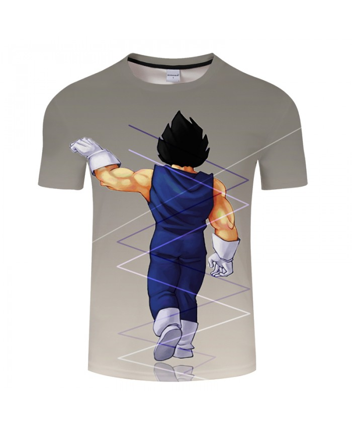 Grey 3D Print Summer Anime ShortSleeve Streetwear Top&Tee Tshirts Short Sleeve 2018 Dragon Ball Vegeta Drop Ship