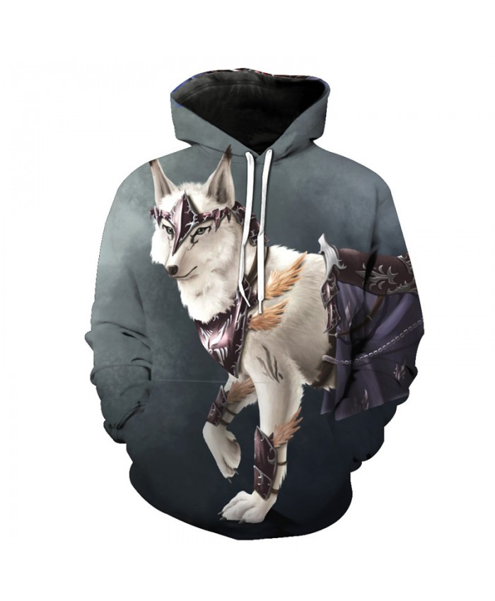 Grey Casual Hoodie Voodoo Wolf Print Fashion Pullover Men Women Casual Pullover Sportswear