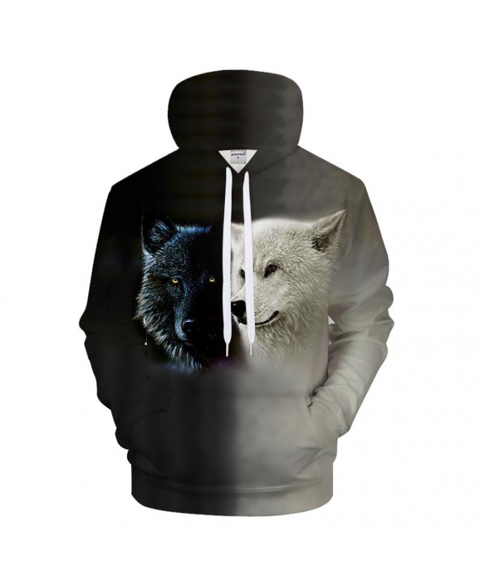 Grey Hoodies Wolf Sweatshirts Men Women 3D Hoody Casual Tracksuit Streetwear Pullover Harajuku Coat Print Drop Ship