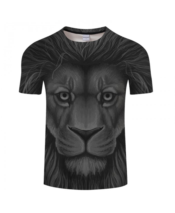 Grey Lion Print 3D Men's t shirts Women tshirt Summer O-neck Short Sleeve 2021 Tops Tees Drop Ship Plus Size