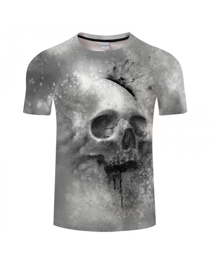 Grey Skull By JojoesArt 3D Print t shirt Men Women tshirt Casual Short Sleeve O-neck Top&Tees Streetwear Camiseta 2018 Drop Ship