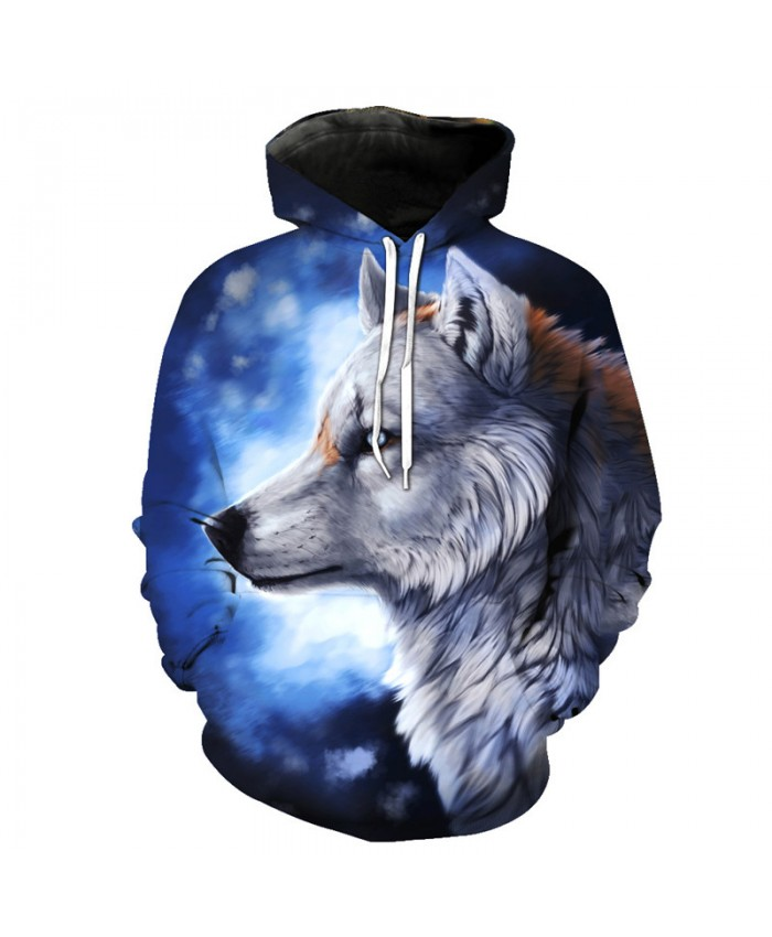 Grey Wolf Print Blue Hoodie Pullover Cool Hooded Sweatshirts Men Women Casual Pullover Sportswear