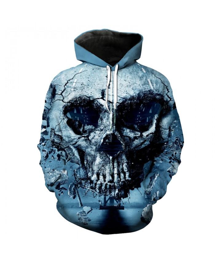 Grim Reaper Damaged Street Skull Print Funny Hooded pullover Tracksuit Pullover Hooded Sweatshirt