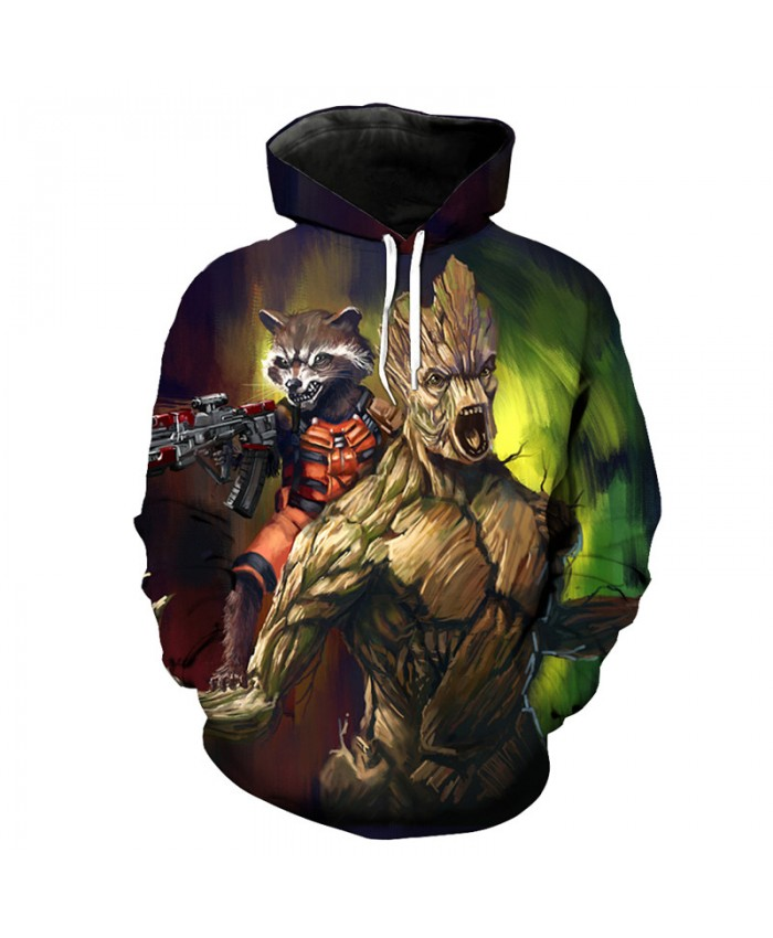 Guardians of the Galaxy Groot Rocket Raccoon Fashion Streetwear 3D Sweatshirt Sportwear A