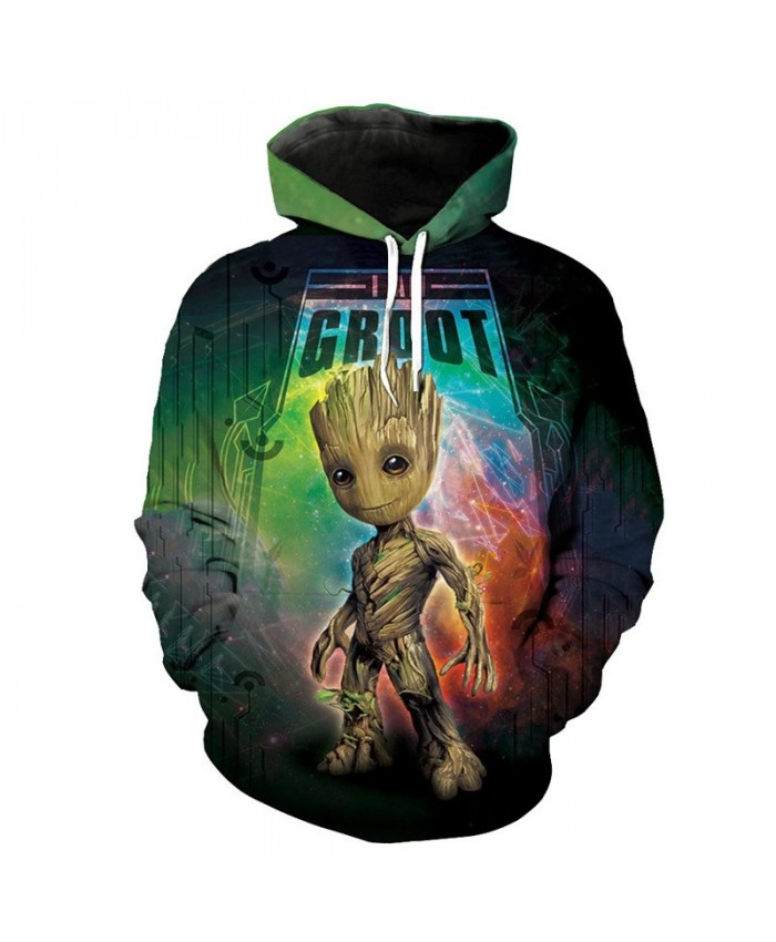 Guardians of the Galaxy Groot Rocket Raccoon Fashion Streetwear 3D Sweatshirt Sportwear D