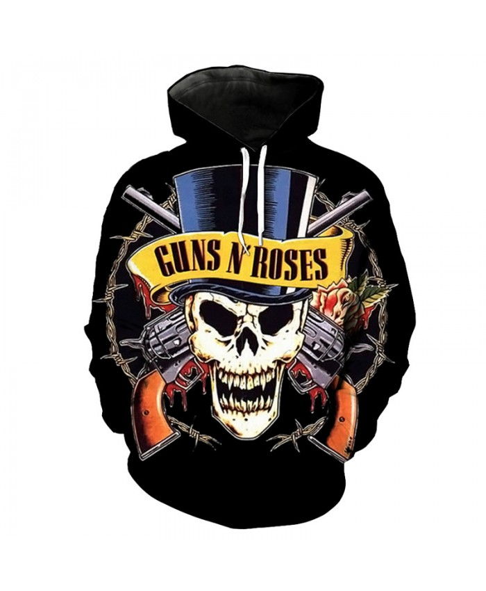 Gun Rose Howling Skull Print Cool Fashion Hooded Sweatshirt Men Women Sportswear Tracksuit Pullover Hooded Sweatshirt