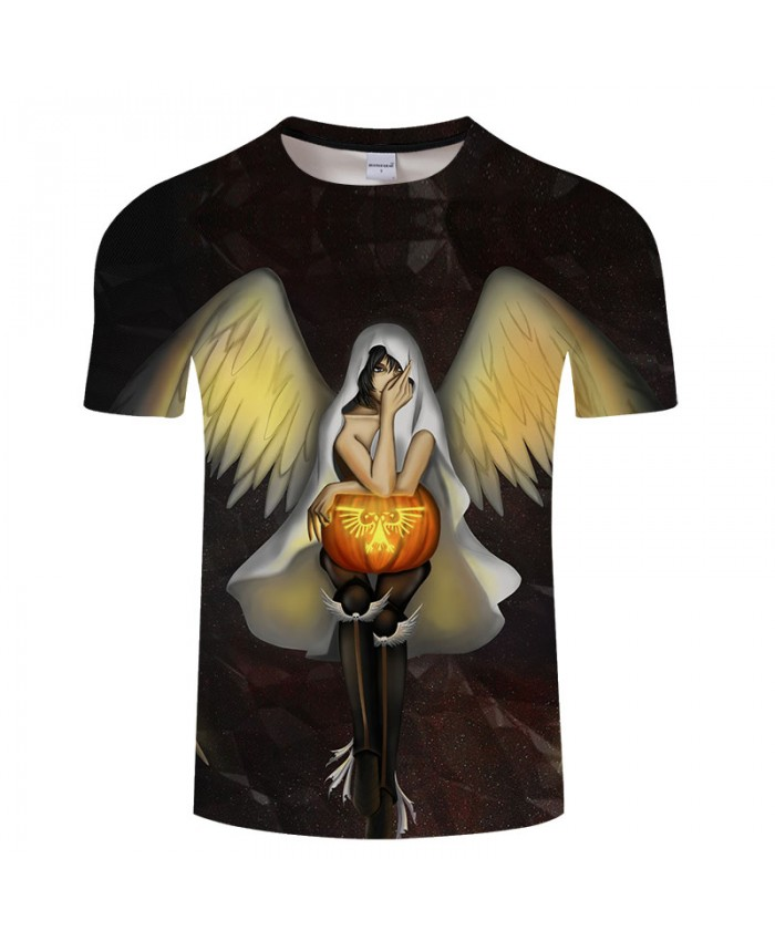 Halloween Angel 3D Print T shirts Men T-shirts Brand Top Tees Streetwear Summer Short Sleeve tshirt O-neck Drop Ship