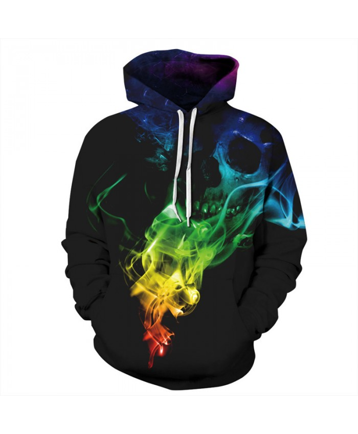 Halloween Style Color Smoke Skull Fashion Hoodies Fall Pullover Neutral Sportswear Tracksuit Pullover Hooded Sweatshirt