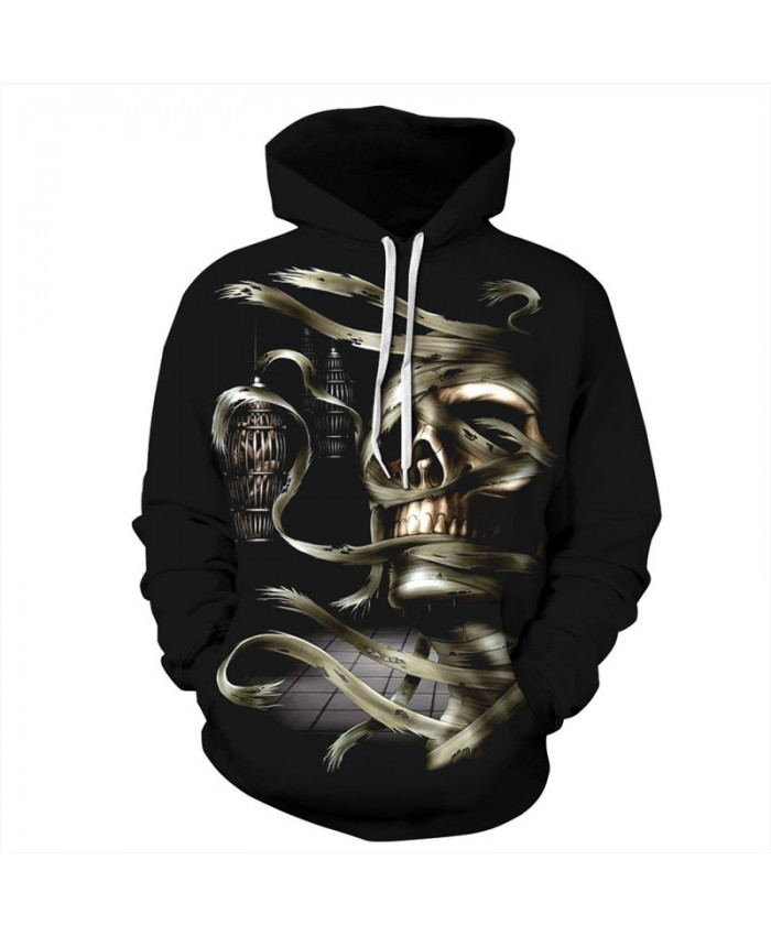 Halloween Style Winding Skull Neutral Hooded Sweatshirt