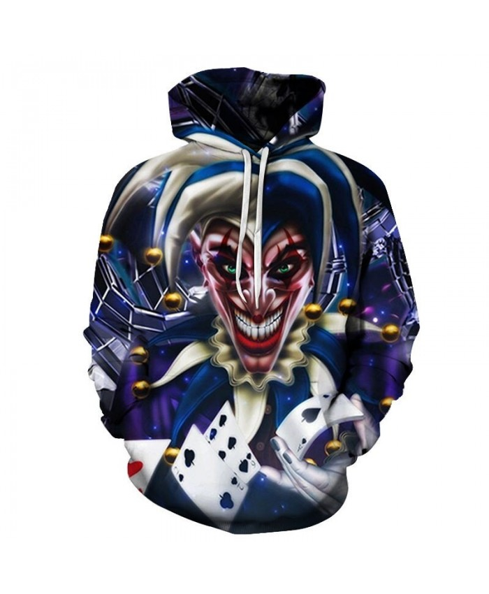 Hand Holding Playing Cards Clown 3D Print Men Pullover Sweatshirt Clothing for Men Custom Pullover Hoodie Streetwear