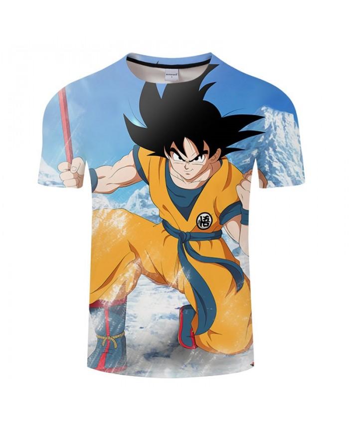 Hand Holding Wooden Stick Cartoon Goku Dragon Ball 3D Print Men tshirt Anime 2019 Casual Short Sleeve Male Drop Ship