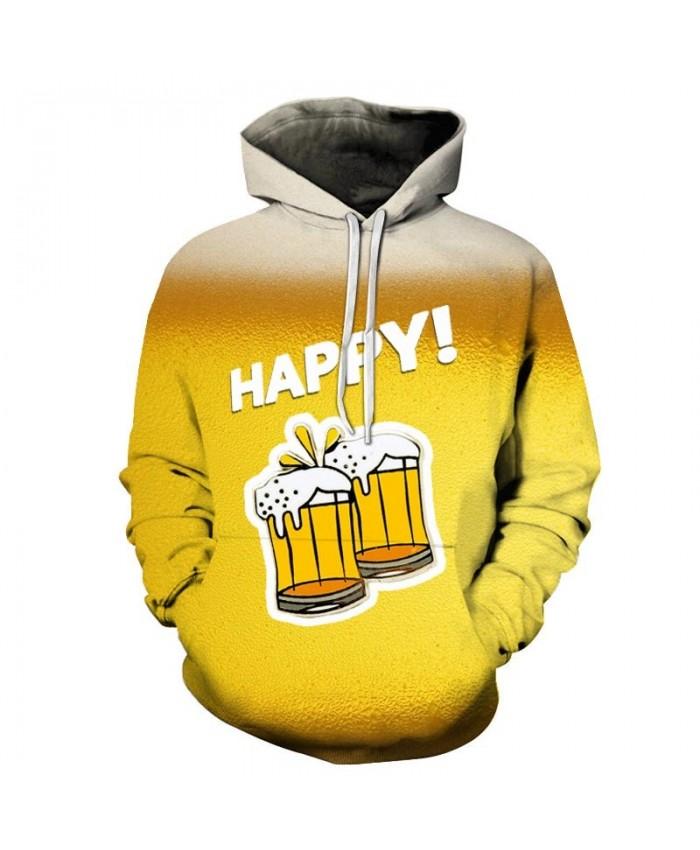Happy Beer 3D Print Men Pullover Sweatshirt Pullover Hoodie Casual Hoodies Fashion Men Hoodie Streetwear Sweatshirt