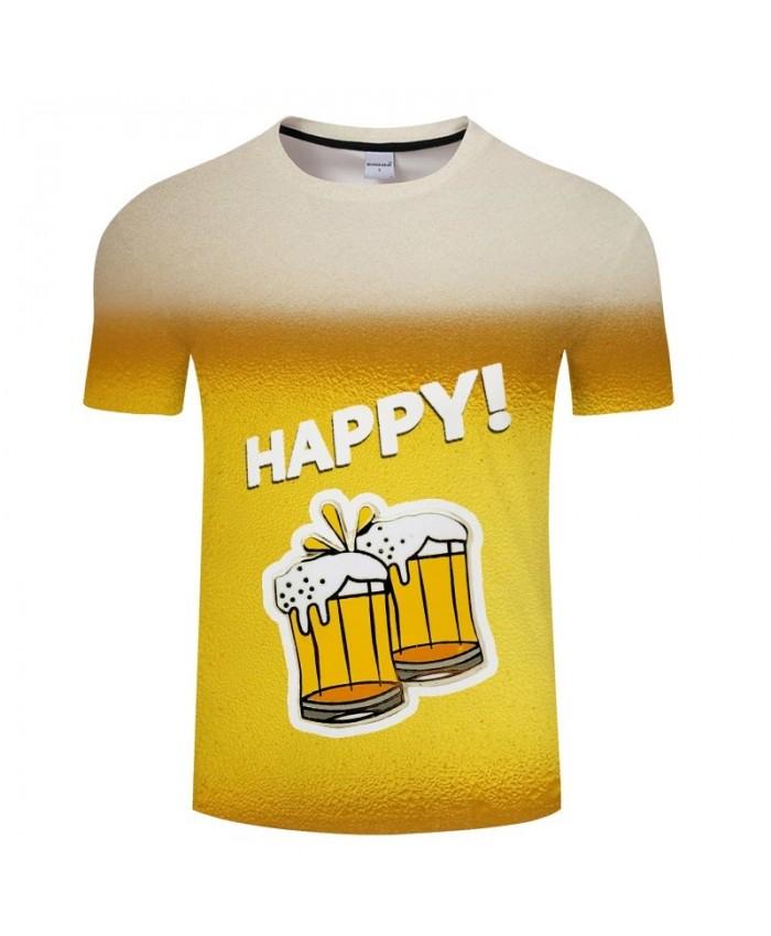 Happy Beer 3D Printed Men tshirt Crossfit Shirt Casual Summer Short Sleeve Male tshirt Brand Men Round Neck Loose