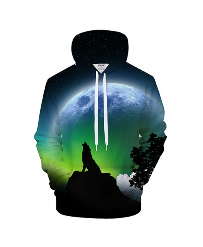 Harajuku 3D Hoodies Men Women Hoody Wolf Sweatshirts Animal Tracksuit Autumn Coat Streatwear Pullover Moon Drop ship