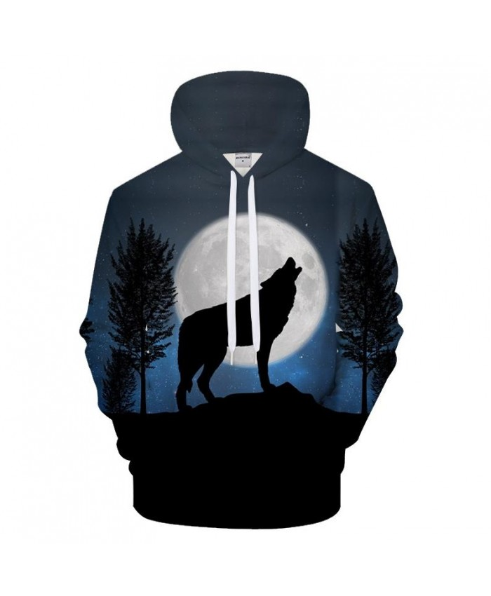 Harajuku Hoodies Wolf Hoody Men Sweatshirts 3D Pullover Funny Tracksuit Autumn Coat Streatwear Hip Hop Moon Drop Ship