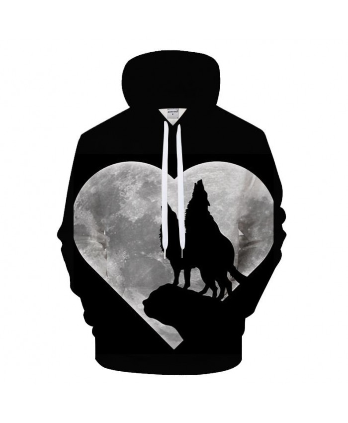 Heart Moon Hoodies Wolf Hoody Men Women Sweatshirts Funny Tracksuit 3D Pullover Harajuku Coat Streetwear Drop Ship