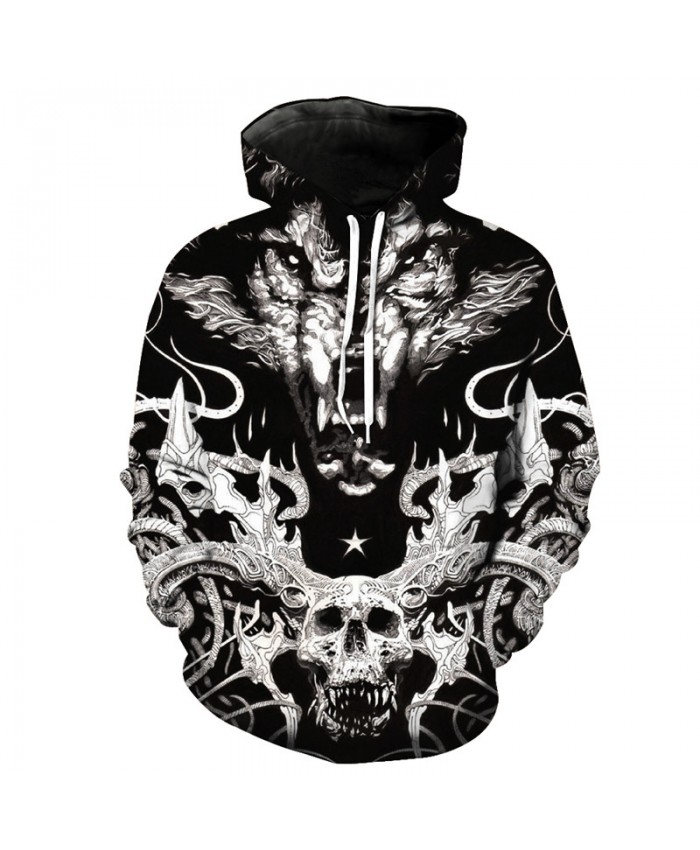 Hell Messenger Dead Warrior Roar Wolf Cool Hooded Sweatshirt Hot Selling Hoodies Autumn Pullover Men Women Casual Pullover Sportswear
