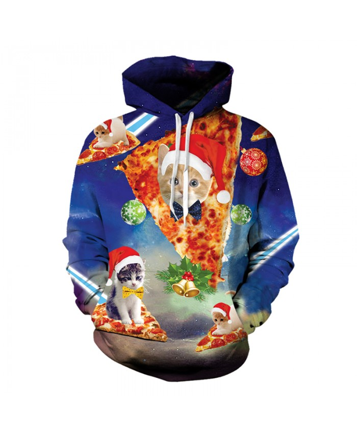 Hip Hop Unisex Sweatshirt 3D Print Christmas Hoodie Cute Kitten Cat With Christmas Hat Outerwear Tops Dropship