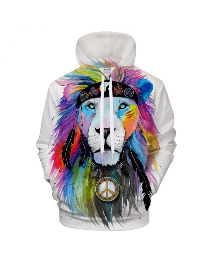 Hippy lion by Pixie cold Art 3D Animal Hoodies Sweatshirts Men Women Hooded Pullover Plus Size Autumn Tracksuits