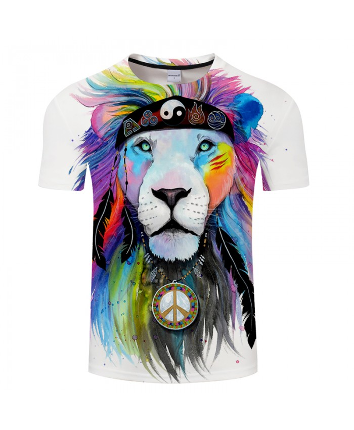 Hippy lion by Pixie cold Art Animal 3D T shirts Men T-shirts Lion Printed Tshirts Brand Tops Male Camiseta Short Sleeve O-neck