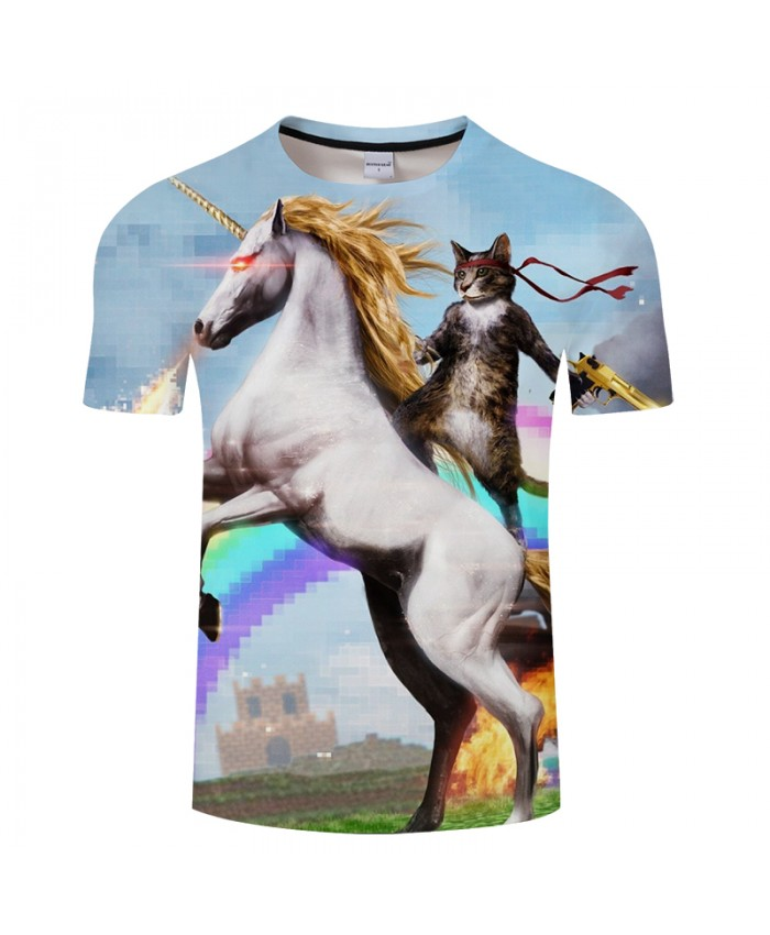 Horse&cat 3D Print t shirt Men Women tshirts Summer Funny Short Sleeve O-neck Sweatshirt Tops&Tees 2018 Drop Ship