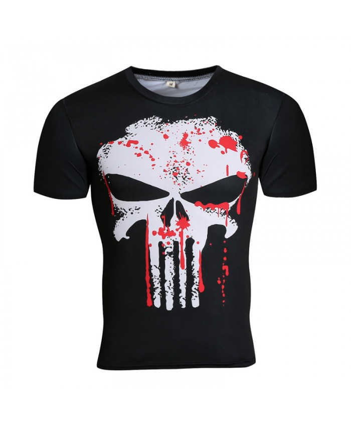 Hot Punisher/Black Panther/Batman/Superhero T shirt Compression High Elastic Tops Quality Fitness Tees 2019