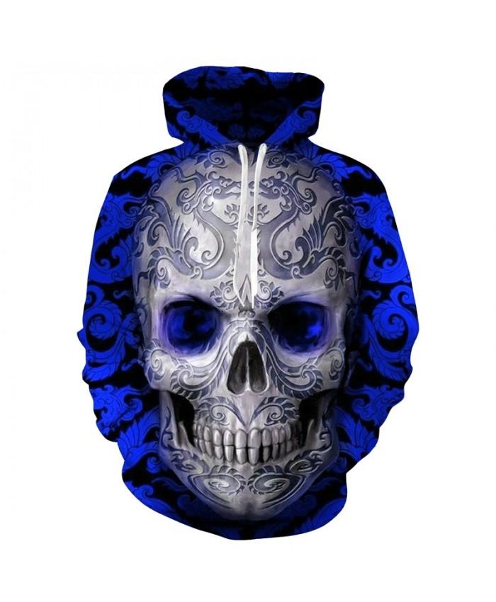 Hot Sale Blue Skull 3D Hoodie Fashion Sweatshirt Men Women Skull Hoody Drop Ship Tracksuit Brand Hooded Jacket 6XL Streetwear