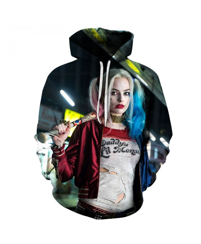 Hot Sale Men Women fashion Sweatshirt Suicide Squad Harley Quinn Costumes Hoodies 2018 Novelty 3D Hooded sweatshirts The jacket