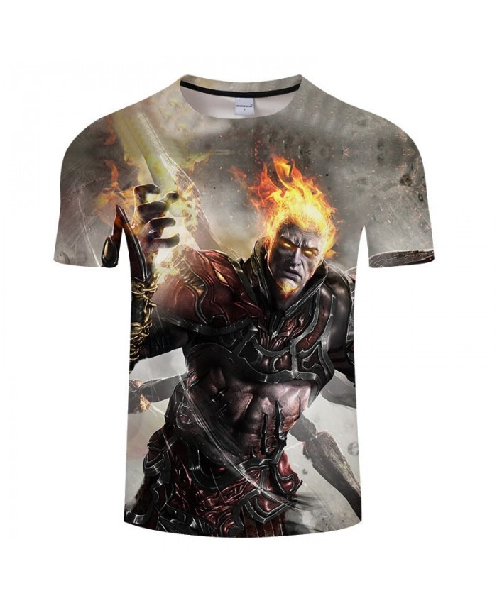 Hot Sell Men tshirts Summer Casual Short Sleeve Anime War Warrior 3D Print t shirt Unisex Tees Cartoon&Anime Tops