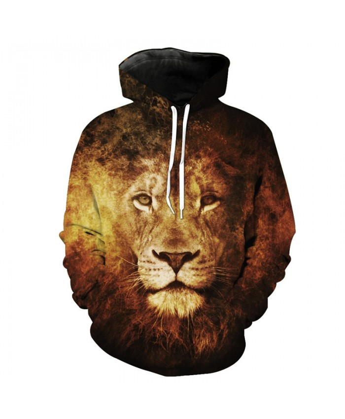 Hot Selling Personality Flame Lion Printing Fashion Hoodied Sweatshirt Casual Hoodie Autumn Tracksuit Pullover Hooded Sweatshirt