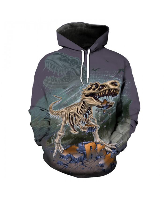 Howl Skull Tyrannosaurus Print Funny Hooded Sweatshirt Unisex Sportswear