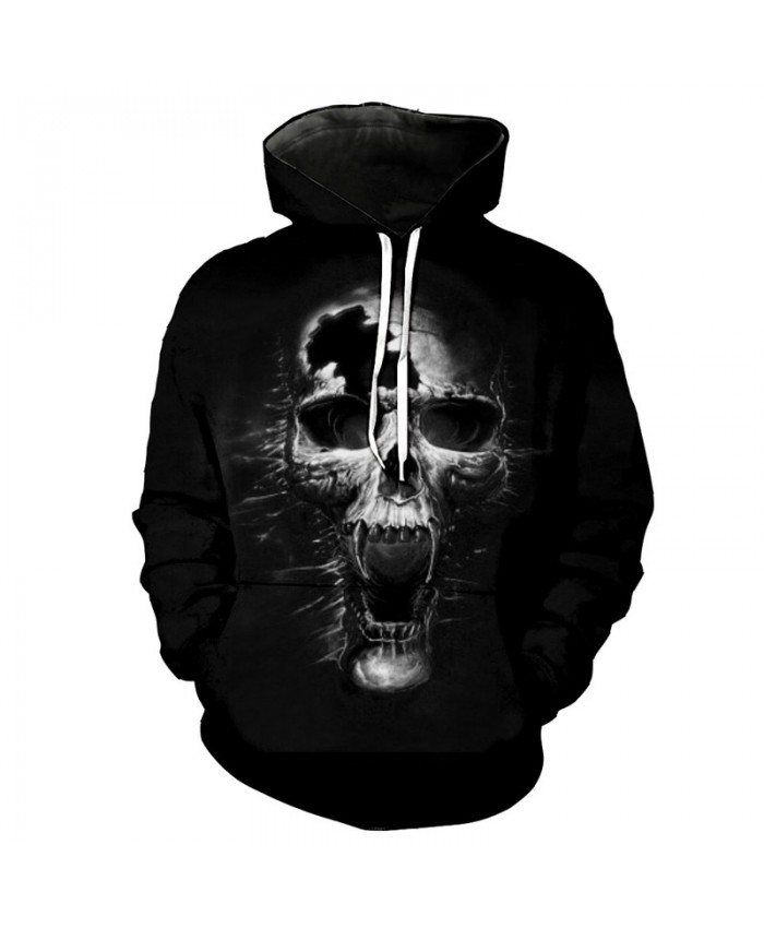 Howling Broken Skull Horror Hooded Sweatshirt Autumn Pullover Tracksuit Pullover Hooded Sweatshirt