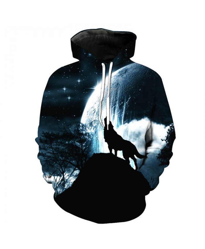 Howling Under the month Wolf Cool Fashion Hooded Sweatshirt Autumn Pullover Men Women Casual Pullover Sportswear