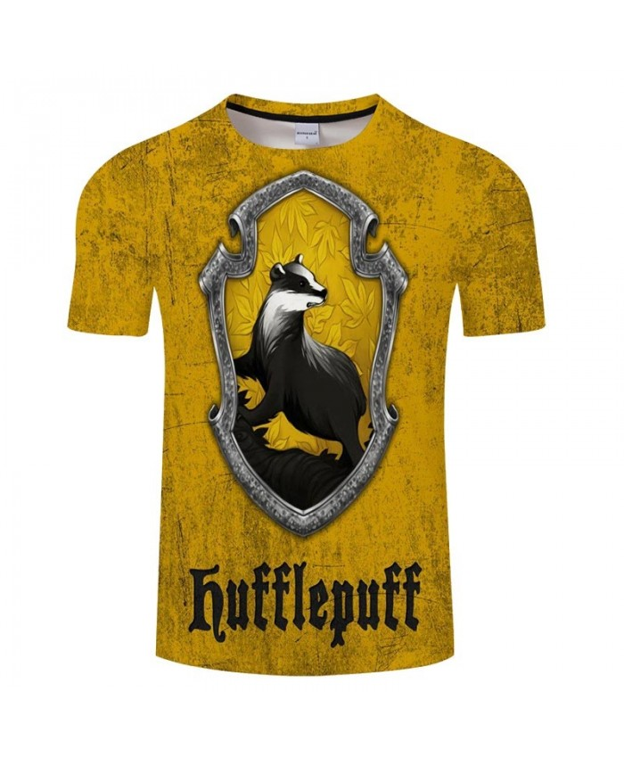 Hufflepuff Movie 3D Print Men tshirt Crossfit Shirt Casual Summer Short Sleeve Male T Shirt Men Brand Round Neck Men