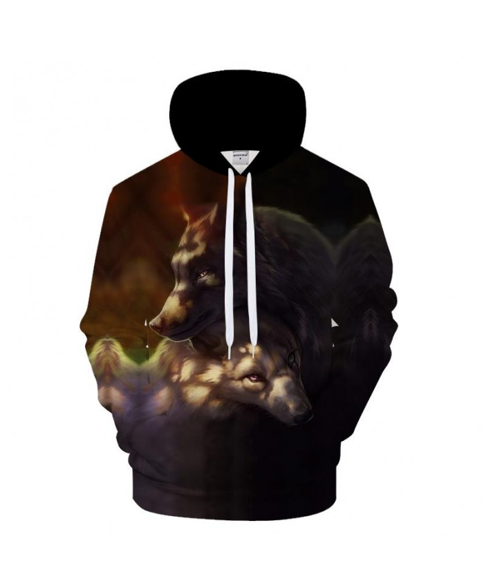 Hug Wolf Hoodies Men Women Sweatshirt Funny Hoody 3D Tracksuit Autumn Pullover Harajuku Coat Streetwear New DropShip