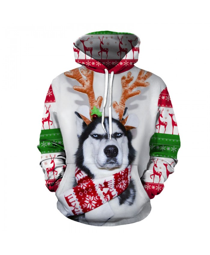 Husky wants a Christmas present Christmas Hoodies 3D Sweatshirts Men Women Hoodie Print Couple Tracksuit Hooded Hoody Clothing