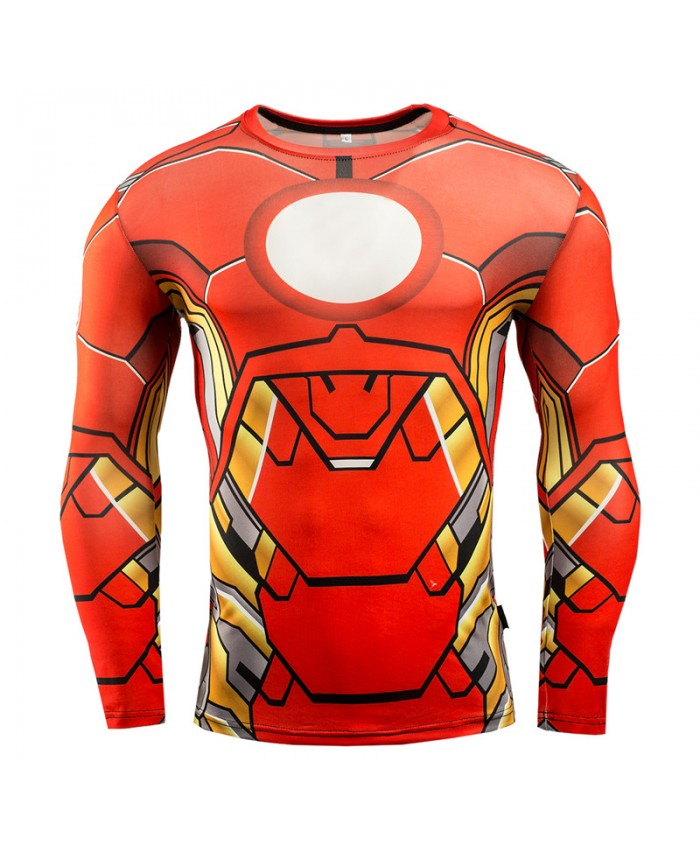 IRON MAN Compression Shirt for Men T shirts 3D Long Sleeve Tees