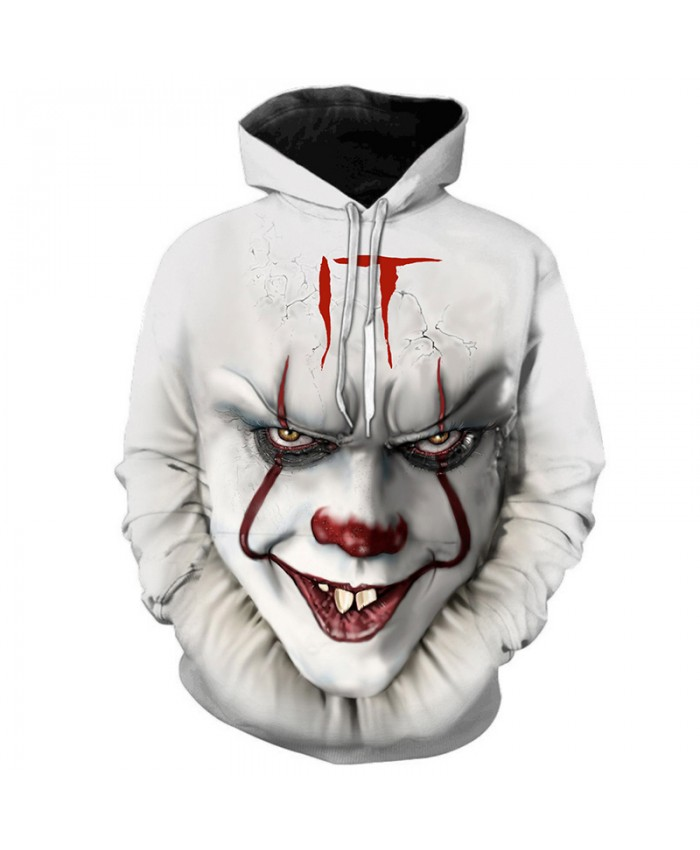 IT Chapter Two 3D Printed Hooded Sweatshirts Funny Clown Thriller Terrorist Movie Pullover Men Hip Hop Casual Oversized Hoodies
