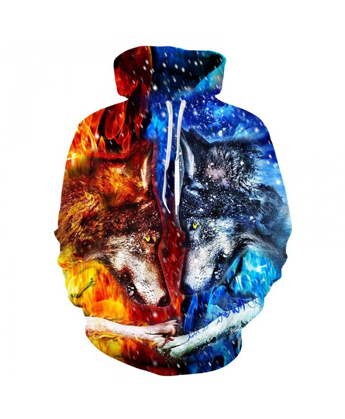 Ice Fire Wolf Hoodies 3D Men Women Sweatshirts Fashion Pullover Autumn Tracksuits Harajuku Hoodies Casual Animal Dropship