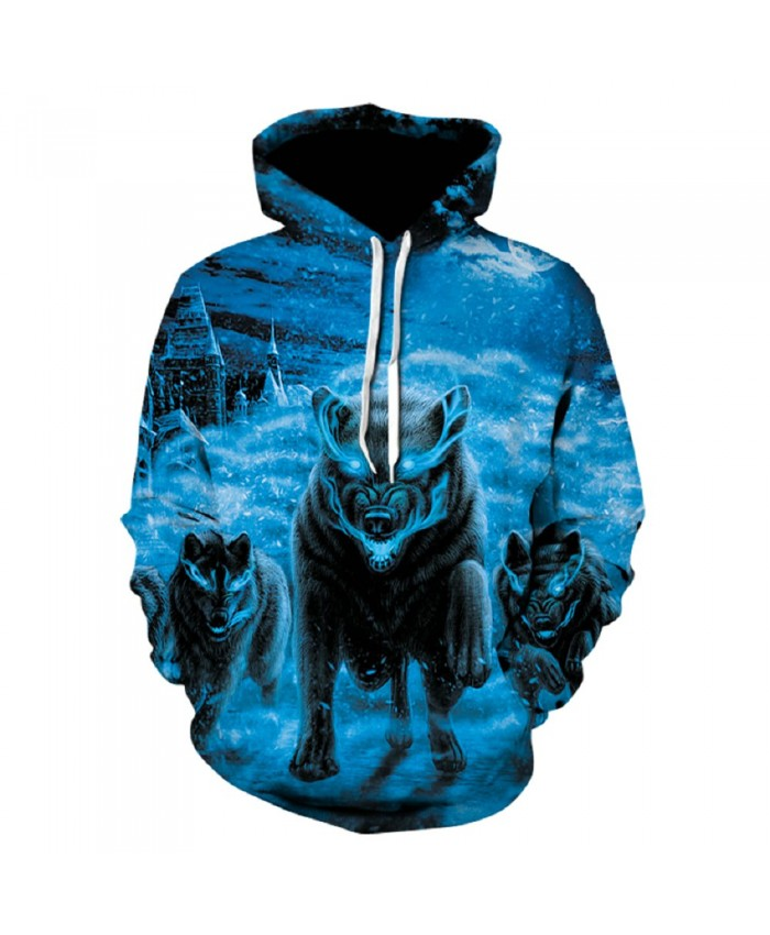 Ice and snow Wolf Hoodie Hoodies Men Women 2021 New Fashion Spring Autumn Pullover Sweatshirts Sweat Homme 3D Tracksuit