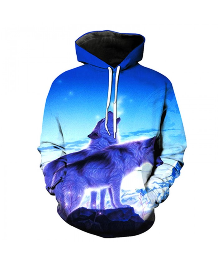 Iceland Howling Wolf Print Casual Pullover Tracksuit Pullover Hooded Sweatshirt