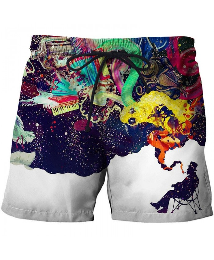 Intoxicated In Music Shape 3D Printed Men Board Shorts Elastic Waist Beach Short Summer Male Clothing Short Trousers