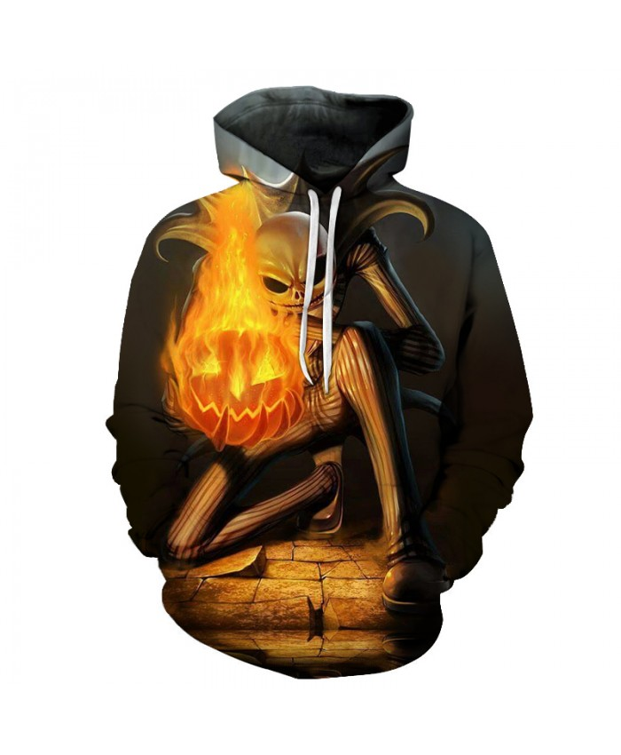 Jack skellington fire pumpkin 3D Hoodies Sweatshirts Men Tracksuits Drop Shipping Comic Hooded Pullover Brand Hoodie