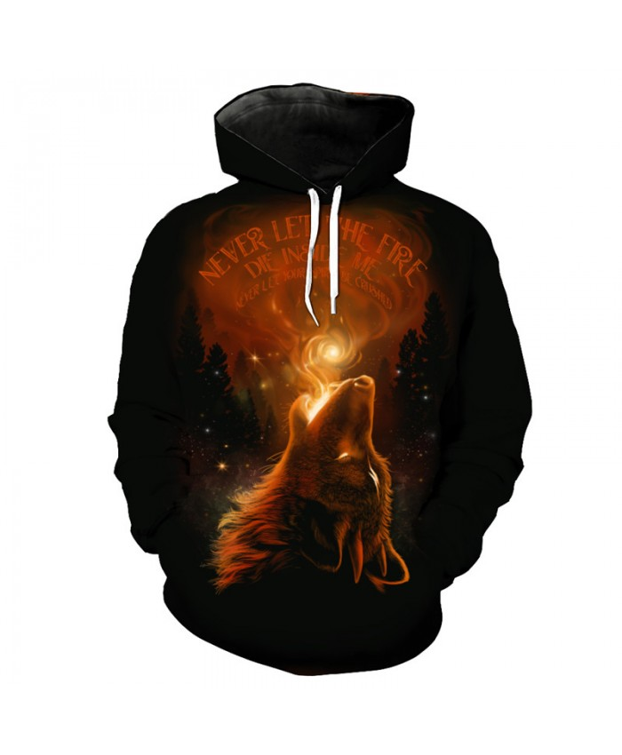 Jet Flame Wolf Men's Hooded Sportswear Men Women Sweatshirts Tracksuit Pullover Hooded Sweatshirt