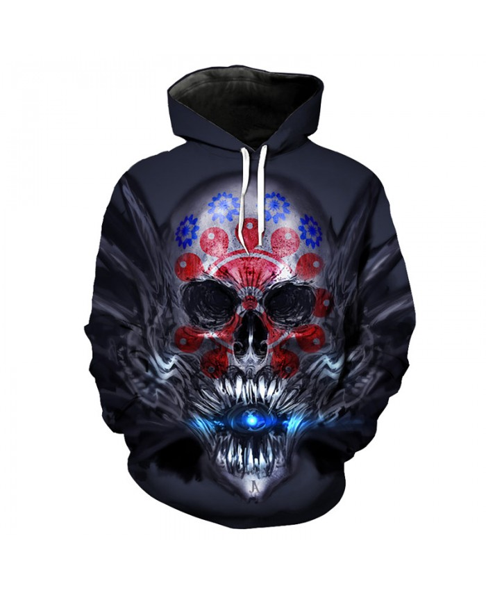 Jet Lightning Color Skull Fashion Men's Hooded Sweatshirt Latest Skull Series Sweatshirt Tracksuit Pullover Hooded Sweatshirt