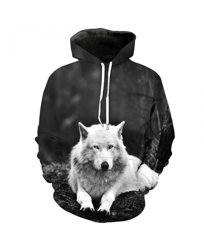 Jungle Wolf Print Casual Pullover Autumn Neutral Hooded Sweatshirt Men Women Casual Pullover Sportswear