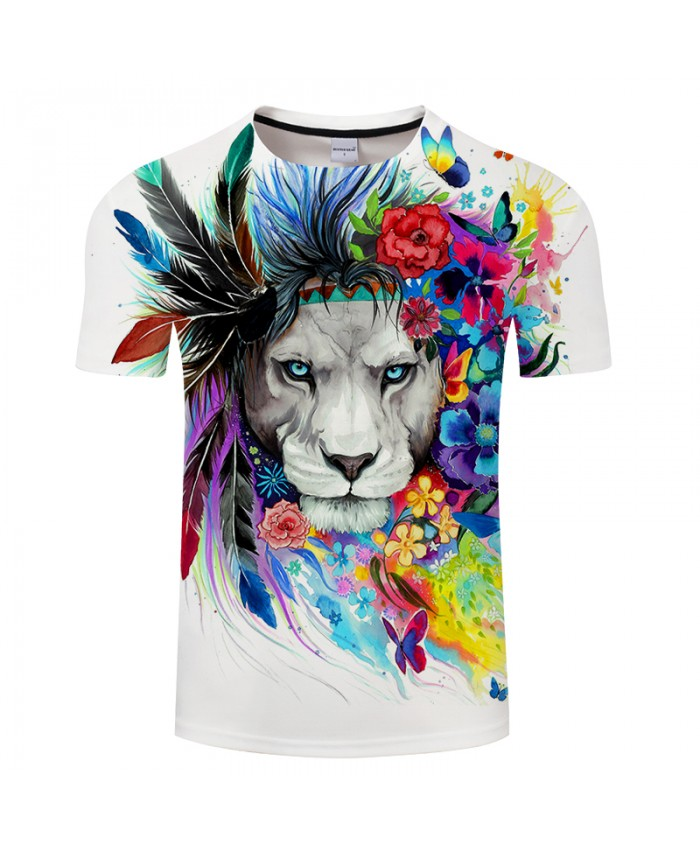 King of the Forest by Pixie cold Art 3D T shirts Men T-shirts Lion Printed Tshirts Summer Tops Tees Plus 6XL