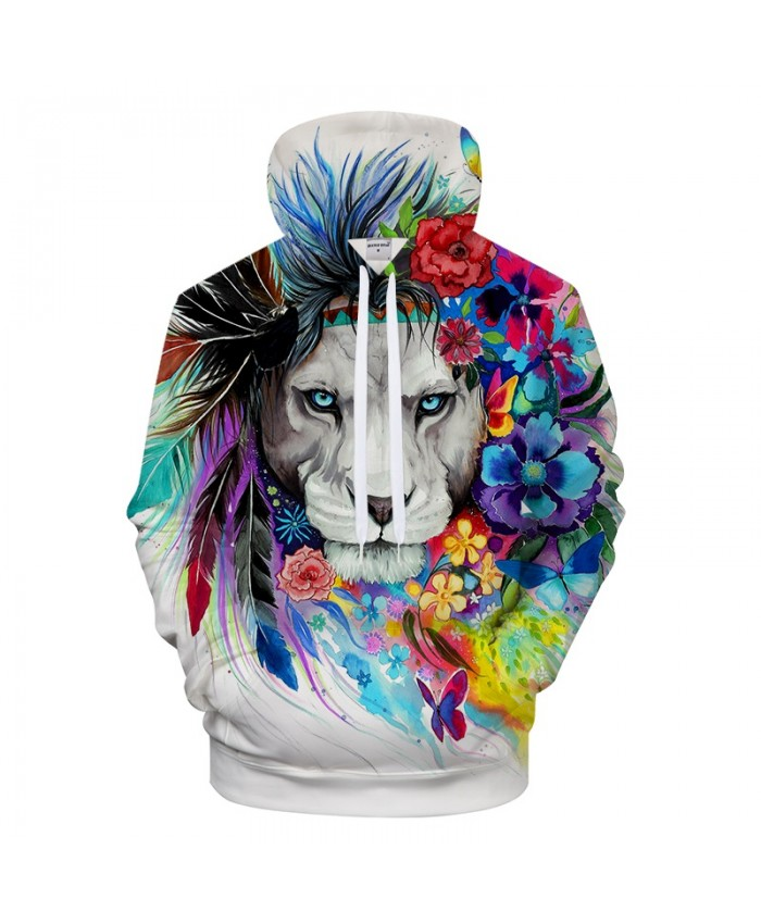 King of the lion by Pixie cold Art 3D Animal Hoodies Men Sweatshirts Brand Tracksuits Casual Pullover Unisex Hoodie